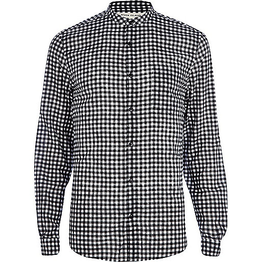 Black and white gingham grandad shirt
