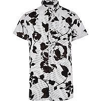 White floral polka dot print shirt