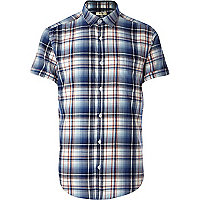 Dark blue check short sleeve shirt