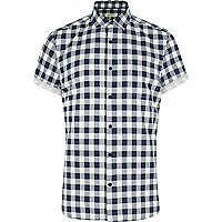Blue gingham short sleeve shirt