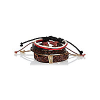 Brown woven leather bracelet pack