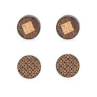 Wooden plug earrings pack