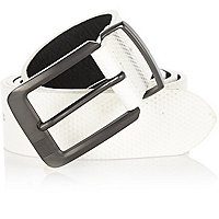 White perforated belt