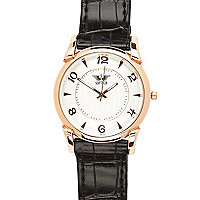 Black round face watch