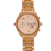 Rose gold tone oversized bracelet watch