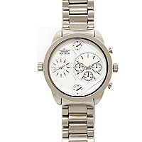 Silver tone oversized bracelet watch
