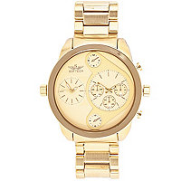 Yellow gold tone oversized bracelet watch