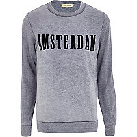 Blue Amsterdam print burnout sweatshirt