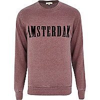 Red Amsterdam print burnout sweatshirt