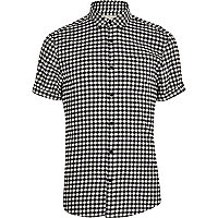 Black and white gingham short sleeve shirt
