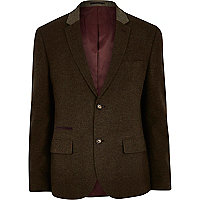 Green khaki wool blazer
