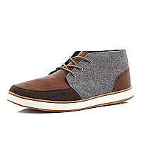 Brown contrast panel mid tops