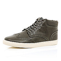 Grey wingtip brogue chukka boots