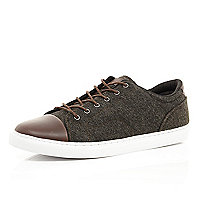 Brown contrast toe cap trainers