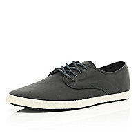 Black lace up plimsolls