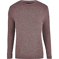 Dark purple rib crew neck jumper