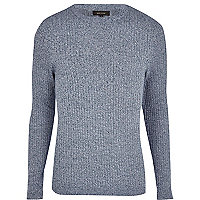 Blue marl rib jumper