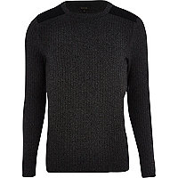 Dark grey ribbed shoulder patch jumper
