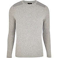 Light grey rib shoulder patch jumper