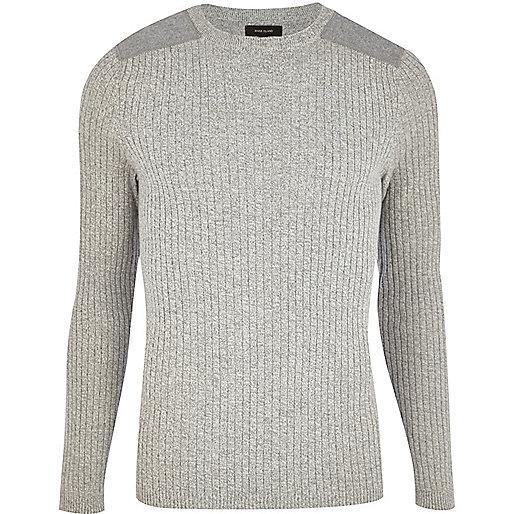 Light grey rib shoulder patch jumper