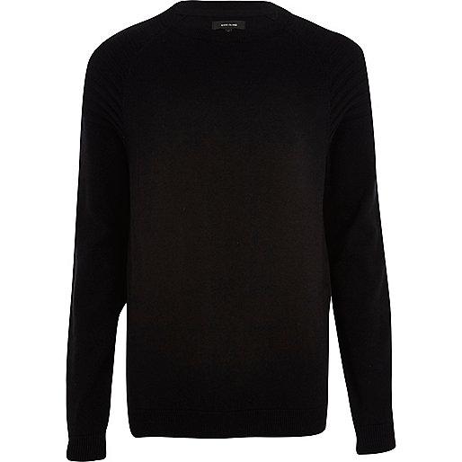 Black elbow patch crew neck jumper