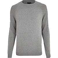 Grey elbow patch crew neck jumper