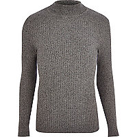 Dark grey roll neck ribbed jumper