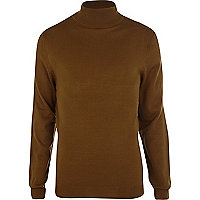 Dark mustard roll neck jumper