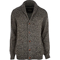 Dark grey shawl collar cardigan