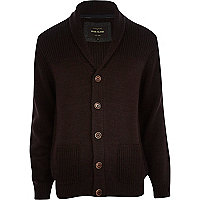 Dark red shawl collar cardigan