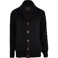 Navy blue shawl collar cardigan