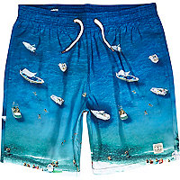 Blue sea print mid length swim shorts