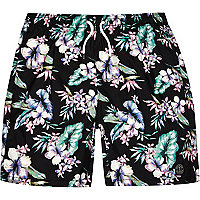 Black floral print mid length swim shorts