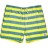 Yellow stripe short swim shorts