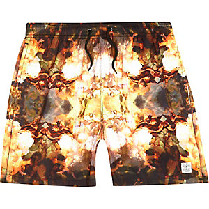 Orange renaissance print short swim trunks