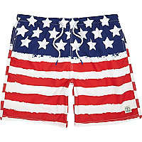 Red stars and stripes mid length swim shorts
