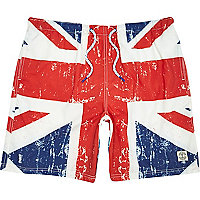 Blue Union Jack print mid length swim shorts