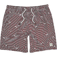 Dark red striped mid length swim shorts