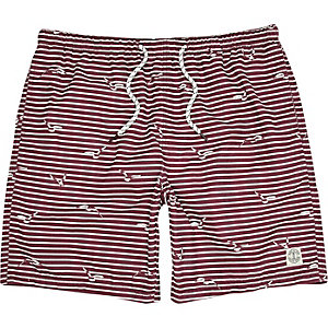 Dark red stripe mid length swim shorts