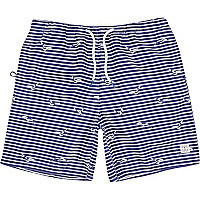 Navy stripe bird print mid length swim shorts