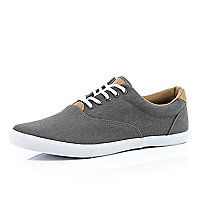Dark grey denim lace up plimsolls