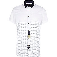 White Holloway Road patterned panel shirt