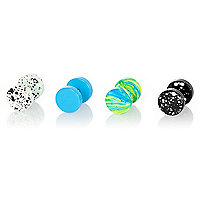 Blue mixed plug earrings pack