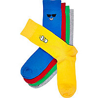 Mixed smiley cartoon motif socks pack