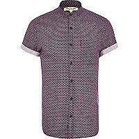 Purple geometric print grandad collar shirt