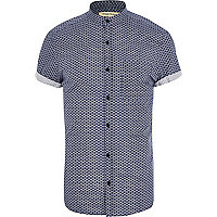 Navy geometric print grandad collar shirt