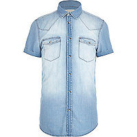 Light wash western denim shirt