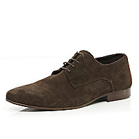 Dark brown suede lace up shoes