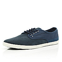 Navy contrast panel lace up plimsolls