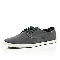 Grey contrast panel lace up plimsolls